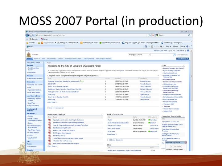 MOSS 2007 Portal (in production)