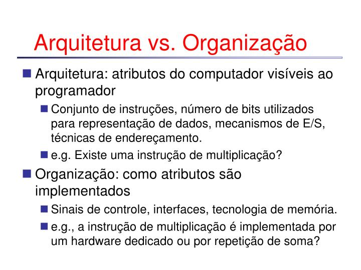 Arquitetura vs. Organização