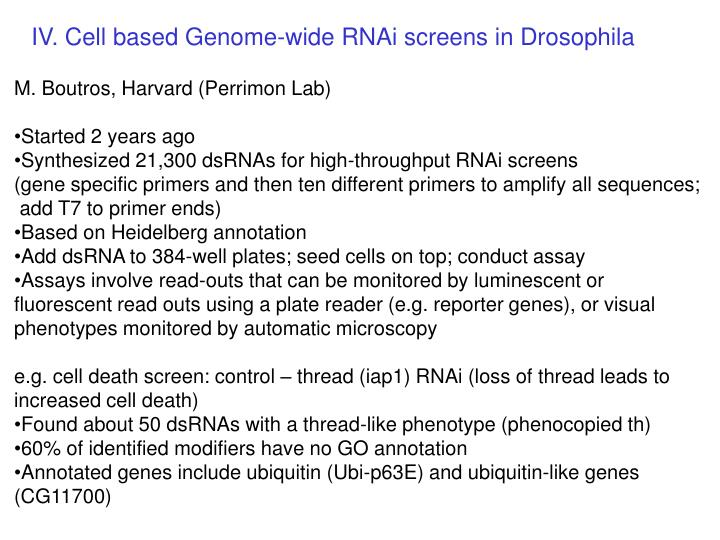 IV. Cell based Genome-wide RNAi screens in Drosophila