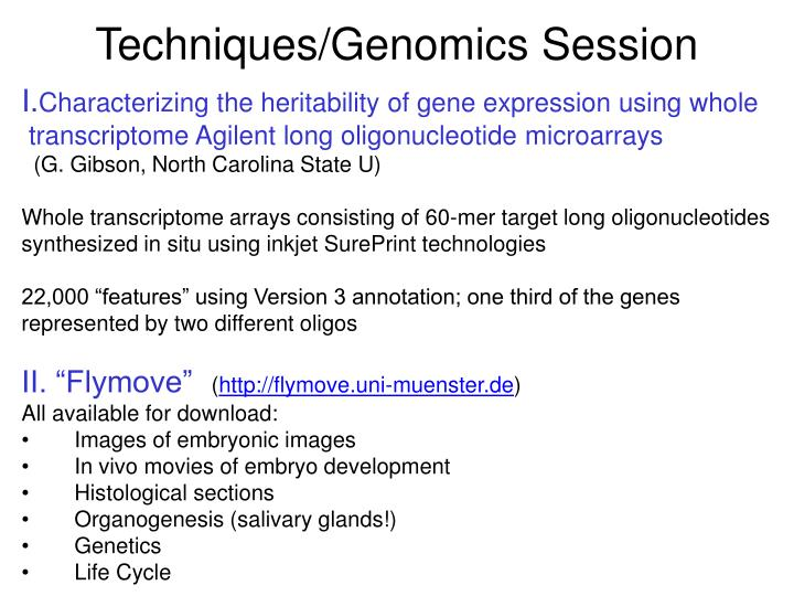 Techniques/Genomics Session
