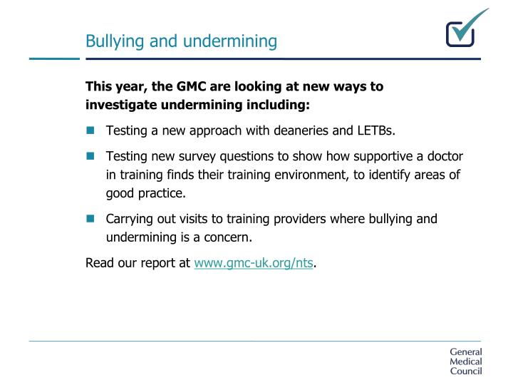 Bullying and undermining