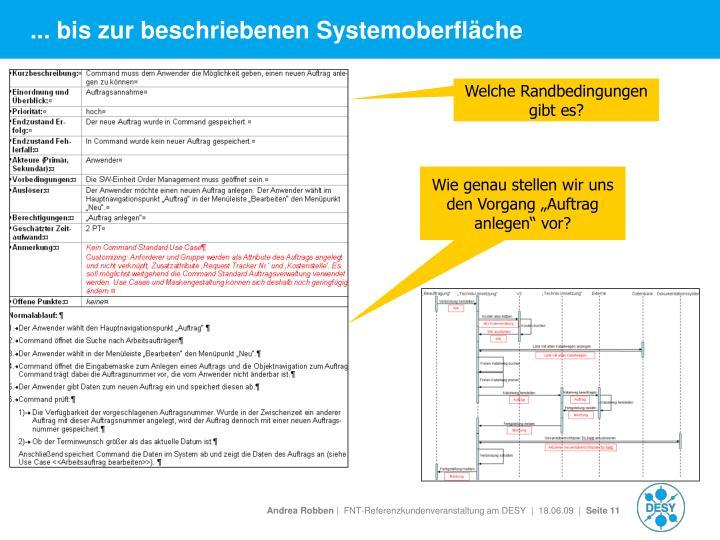 ... bis zur beschriebenen Systemoberfläche