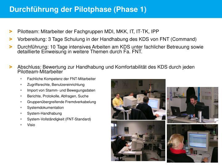 Durchführung der Pilotphase (Phase 1)