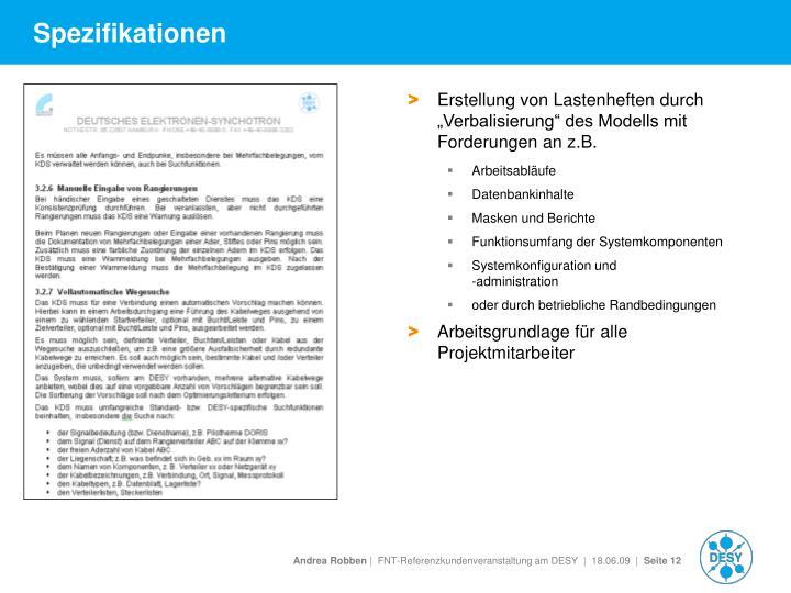 """Erstellung von Lastenheften durch """"Verbalisierung"""" des Modells mit Forderungen an z.B."""