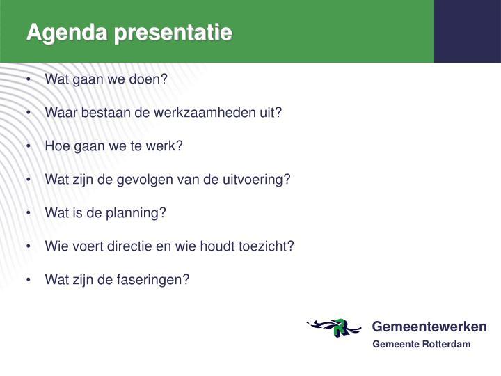 Agenda presentatie
