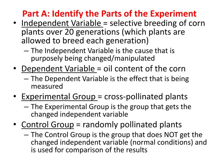 Part a identify the parts of the experiment