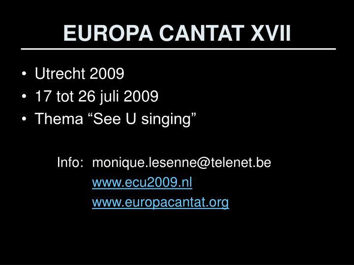 EUROPA CANTAT XVII