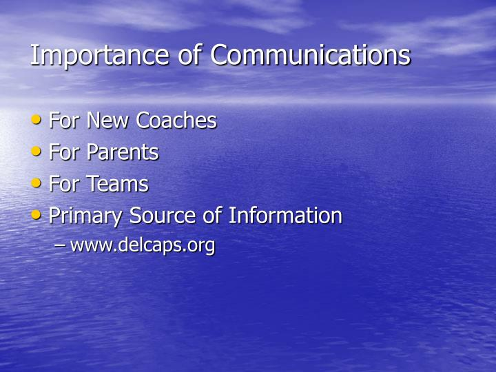 Importance of communications