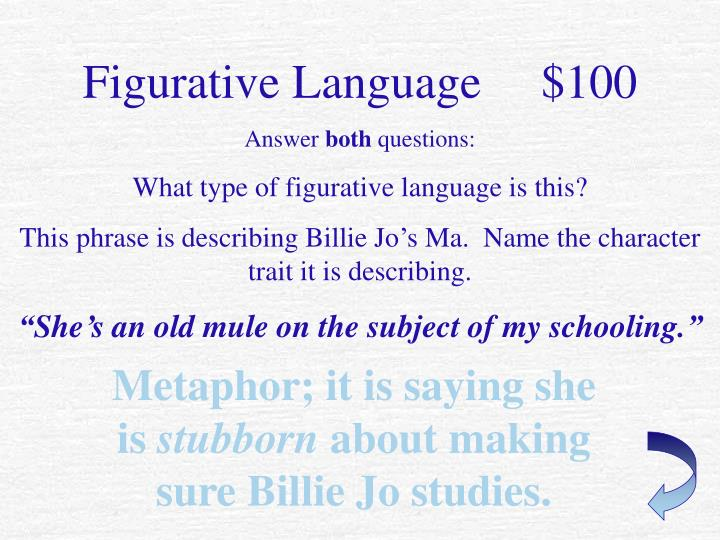 Figurative Language     $100