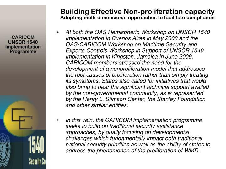 Building Effective Non-proliferation capacity