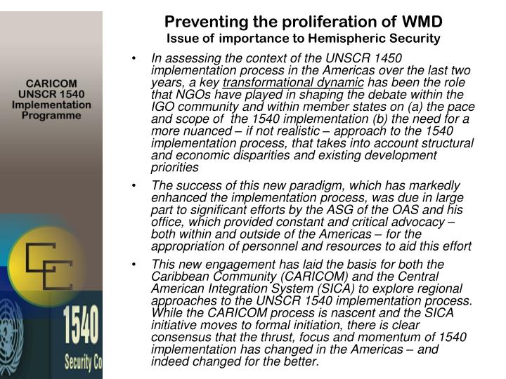 Preventing the proliferation of WMD