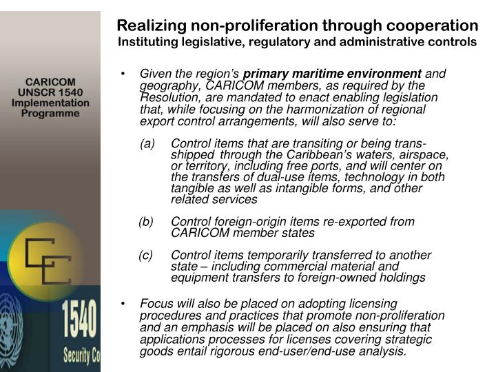 Realizing non-proliferation through cooperation