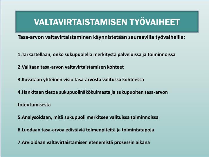 VALTAVIRTAISTAMISEN TYÖVAIHEET