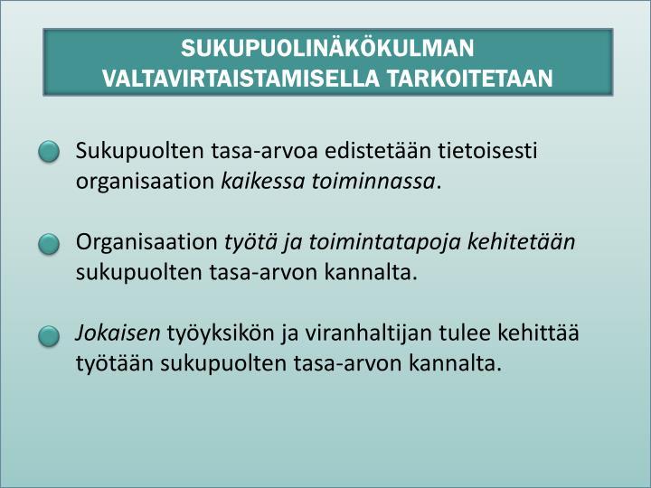SUKUPUOLINÄKÖKULMAN VALTAVIRTAISTAMISELLA TARKOITETAAN
