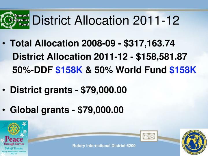 District Allocation 2011-12
