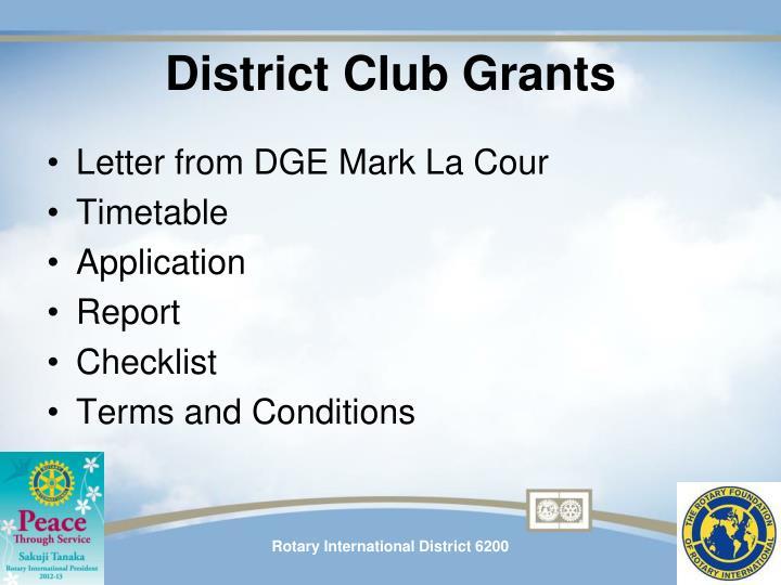 District Club Grants