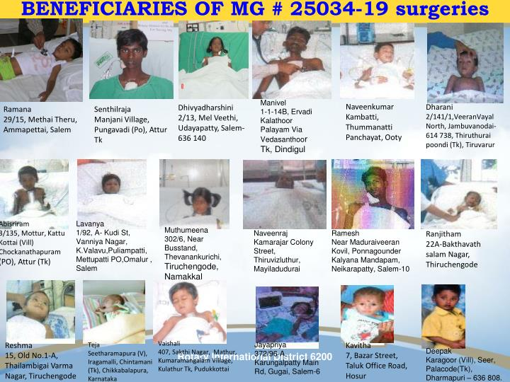 BENEFICIARIES OF MG # 25034-19 surgeries