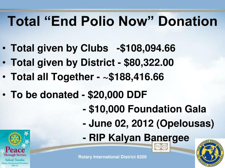 "Total ""End Polio Now"" Donation"