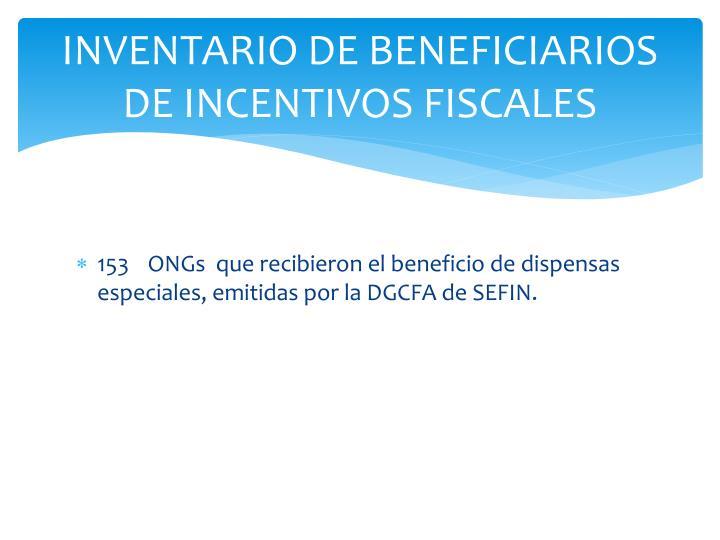 INVENTARIO DE BENEFICIARIOS DE INCENTIVOS FISCALES