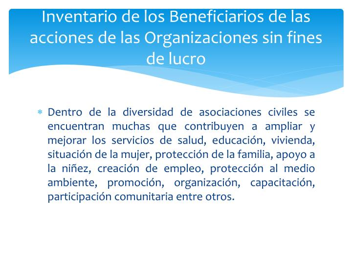 Inventario de los Beneficiarios de las acciones de las Organizaciones sin fines de lucro