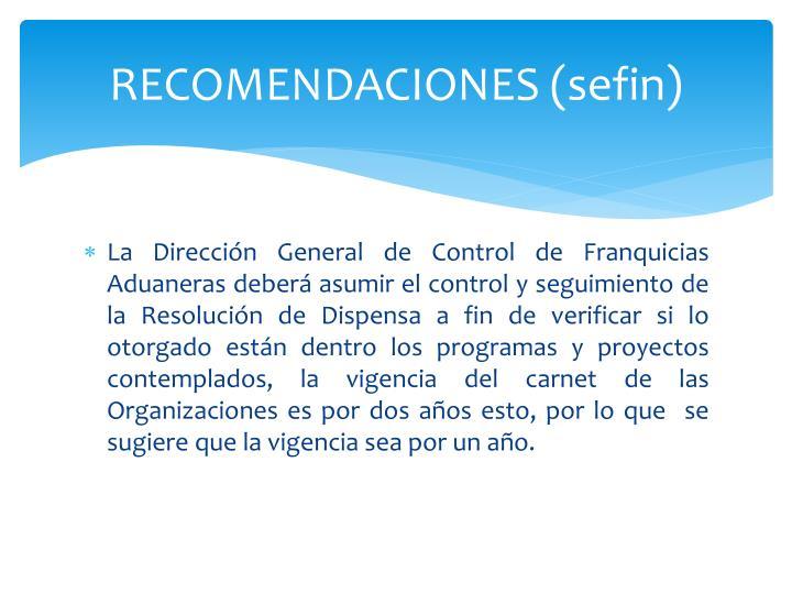 RECOMENDACIONES (sefin)