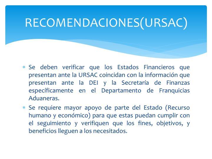 RECOMENDACIONES(URSAC)