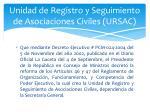 unidad de registro y seguimiento de asociaciones civiles ursac