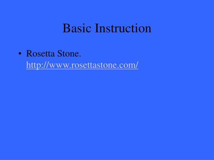 Basic Instruction