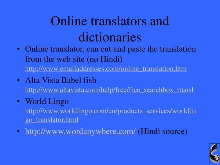 Online translators and dictionaries