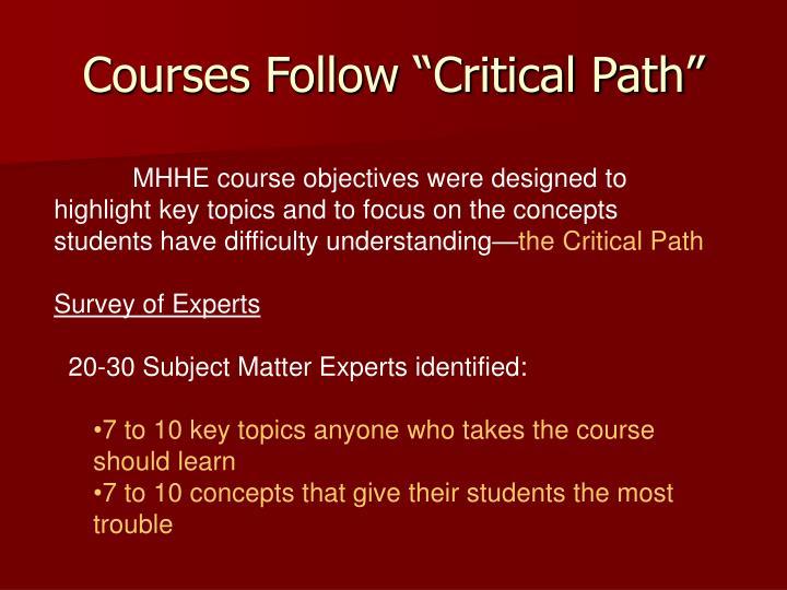 """Courses Follow """"Critical Path"""""""