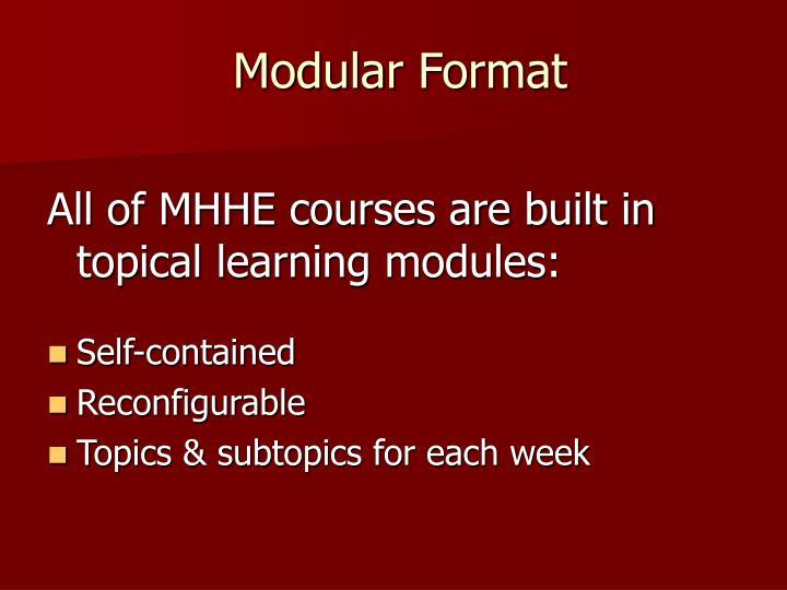 Modular Format