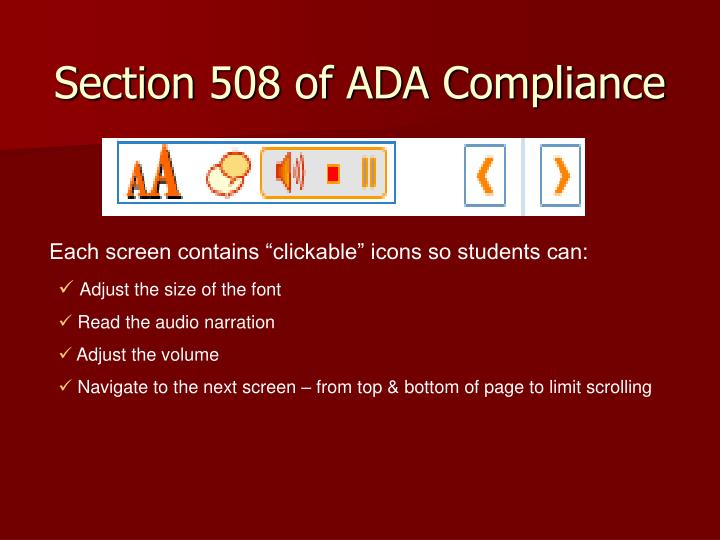 Section 508 of ADA Compliance