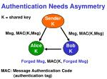 authentication needs asymmetry