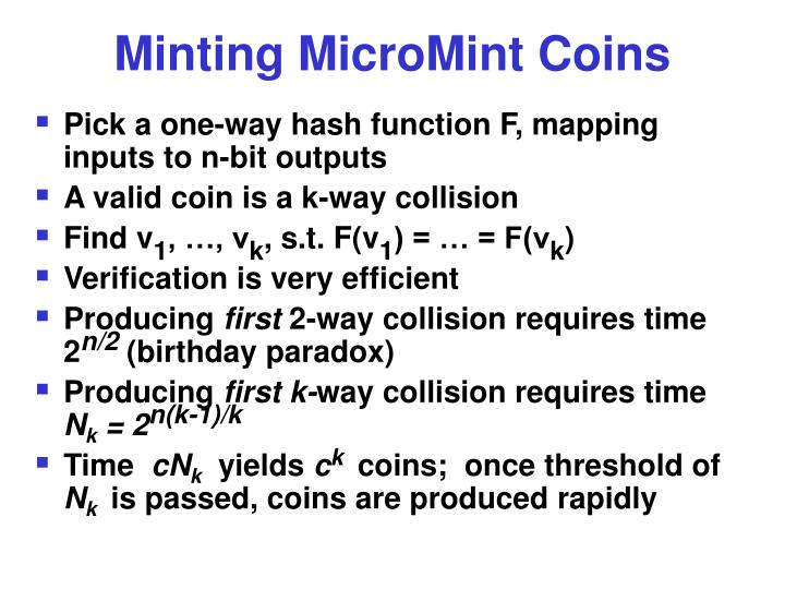 Minting MicroMint Coins