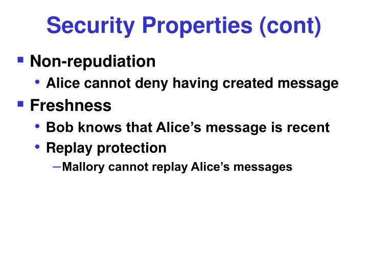 Security Properties (cont)
