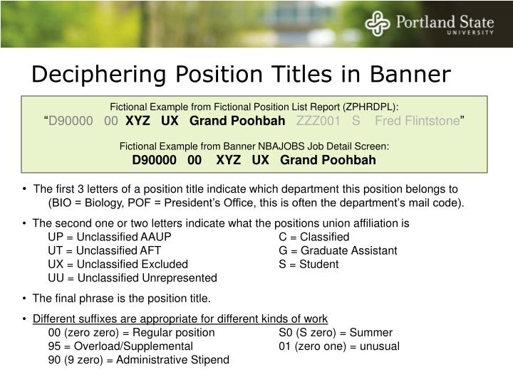 Deciphering Position Titles in Banner