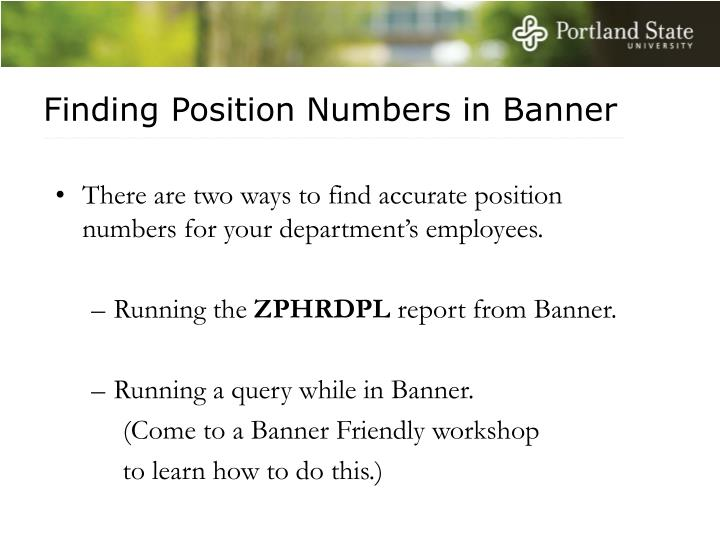 Finding Position Numbers in Banner