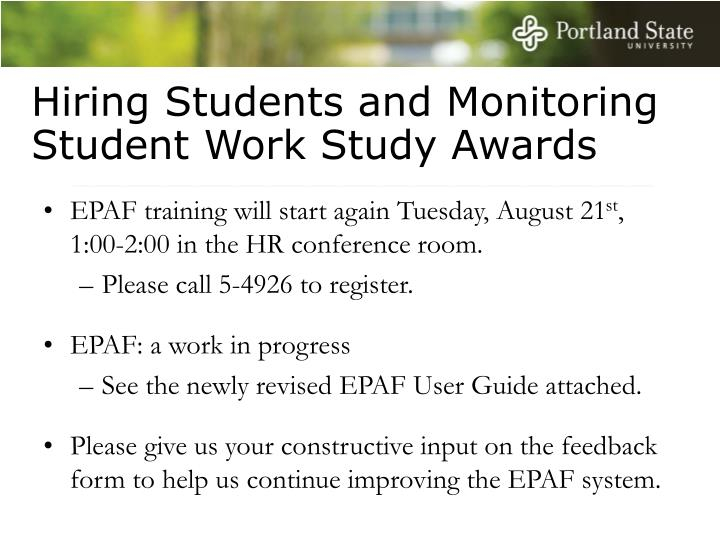 Hiring Students and Monitoring Student Work Study Awards