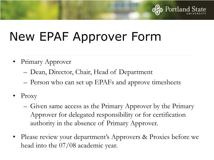 New EPAF Approver Form