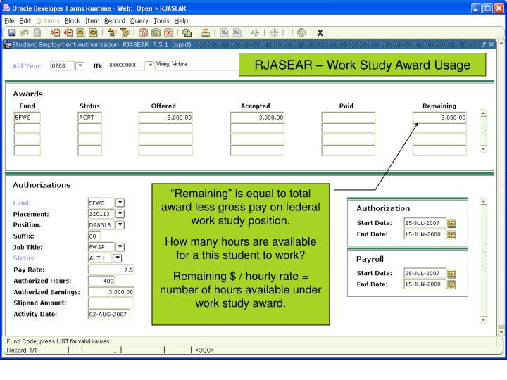 RJASEAR – Work Study Award Usage