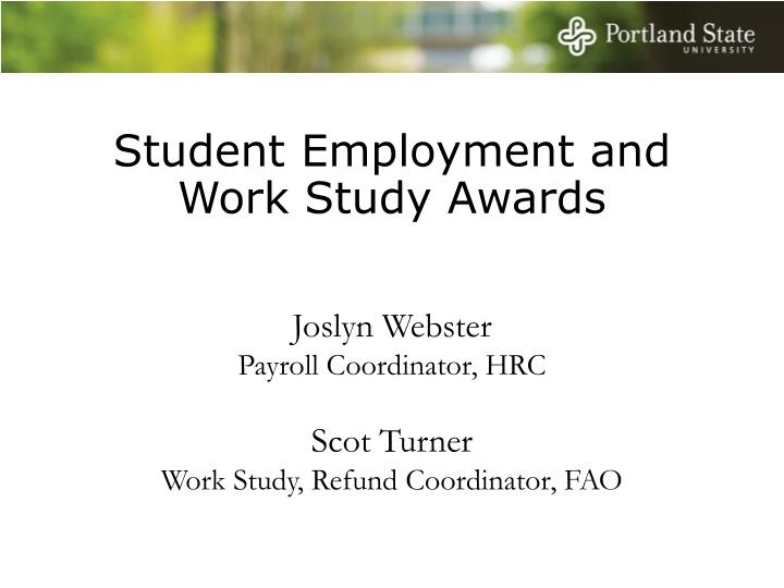 Student Employment and Work Study Awards