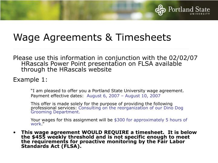 Wage Agreements & Timesheets