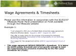wage agreements timesheets