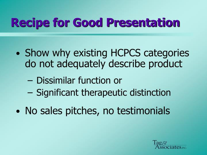 Recipe for Good Presentation