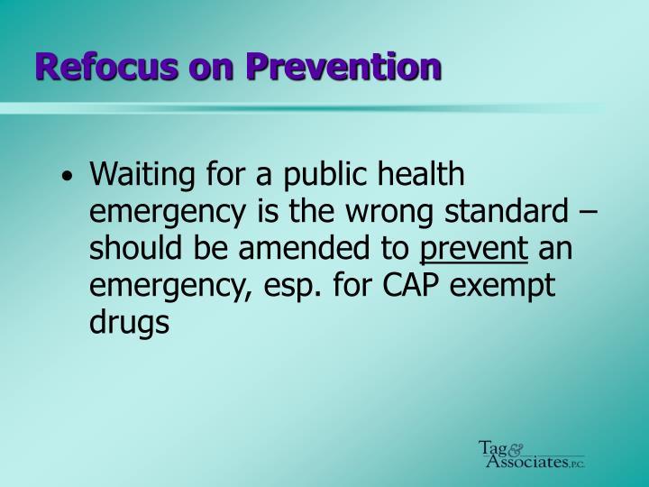 Refocus on Prevention