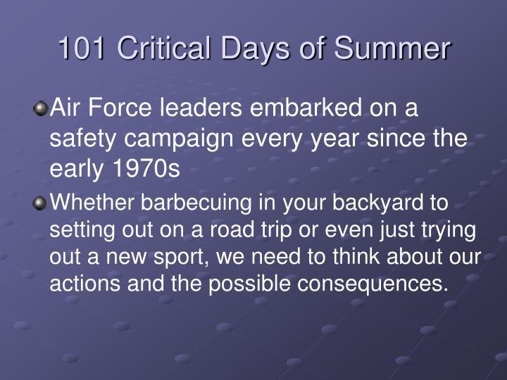 101 Critical Days of Summer