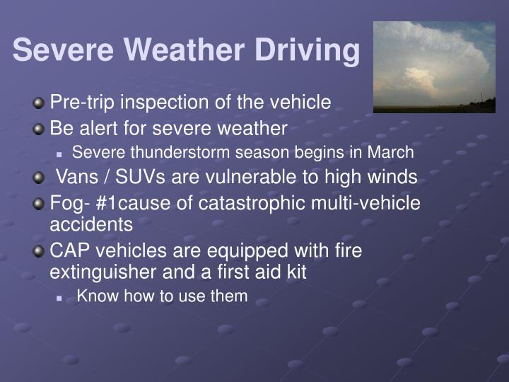 Severe Weather Driving