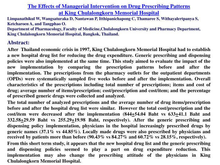 The Effects of Managerial Intervention on Drug Prescribing Patterns
