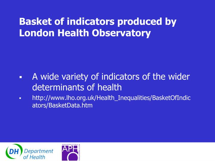Basket of indicators produced by London Health Observatory