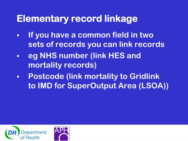 Elementary record linkage